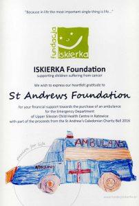 Certificate of acknowledgement from Fundacja Iskierka