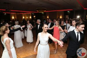 Dancers from Arthur Murray Dance Studio Warsaw lead a Polonaise