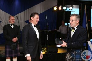 Robert Grader (Marriott GM & Honorary Scot) is presented with a 'quaich' in recognition of the fabulous support of the Marriott