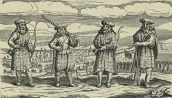 Scottish mercenaries in kilts during the thiry years' war